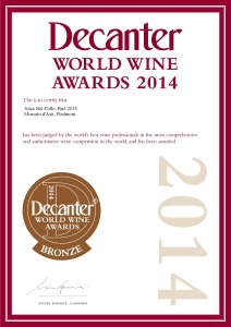 Attestato Moscato 2014 decanter