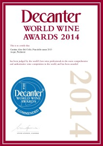 Attestato Brachetto 2014 decanter