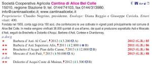 Cantina di Alice Bel Colle Guida Oro I Vini di Veronelli 2015